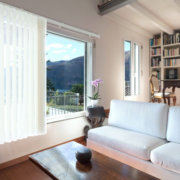 living room with long window blind