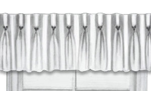 Close-up of valance champagne top treatment with pleat