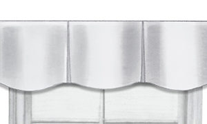 Close-up of valance muti-pleat with hobble top treatment